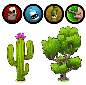 fearsome critters icons and vegetation